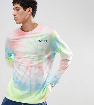 Puma Tie Dye Effect Long Sleeve T-Shirt In Pink Exclusive To Asos