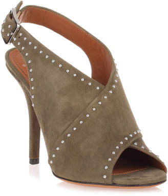 Givenchy Khaki suede cross-over sandal