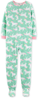 Carter's Little & Big Girls Fleeced Unicorn-Print Footed Pajamas