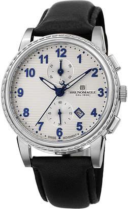 Bruno Magli Men's Dante 42mm Chronograph-Date Watch, Black/Silver
