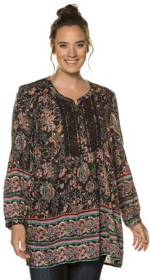 Ulla Popken Mix Print Tunic with Embroidery
