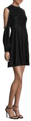 Shoshanna Cold Shoulder Velvet Mini Dress