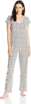 Rene Rofe Women's Trimmed with Love Long Pajama Set