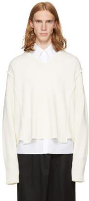 Christian Dada Off-White Oversized Detached V-Neck Sweater
