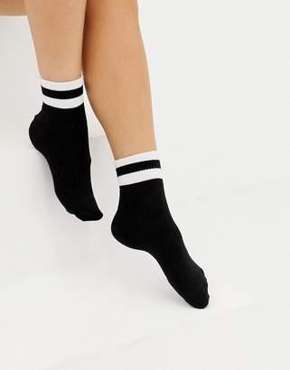 Monki ankle sports socks with white stripe in black