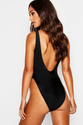 boohoo Petite Scoop High Leg Swimsuit