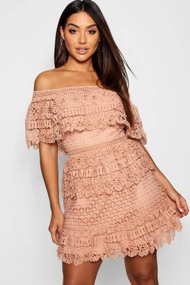 boohoo Tiered Crochet Off the Shoulder Skater Dress