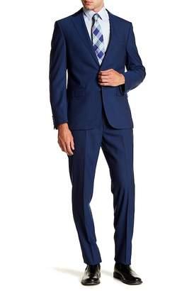 Calvin Klein Solid Blue Slim Fit Two Button Notch Lapel Wool Suit