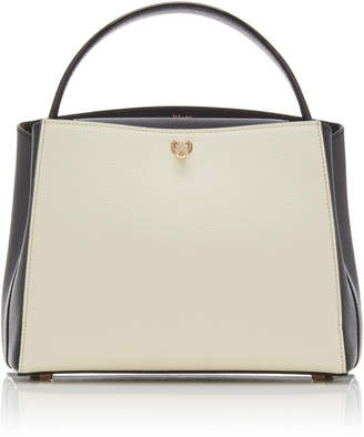 Valextra Brera Medium Bi-color Leather Shoulder Bag