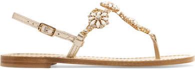 Musa - Embellished Metallic Leather Slingback Sandals - Gold