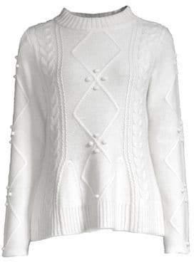 Raffi Cashmere Cashmere Pom-Pom Crewneck Sweater