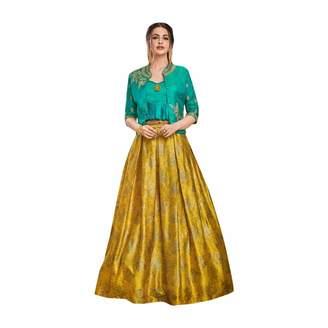 SHRI BALAJI SILK & COTTON SAREE EMPORIUM Designer Evening Cocktail wear Satin Silk Jacket style Crop top with Skirt Indian Women dress 7622