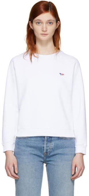 White Tricolor Fox Patch Sweatshirt