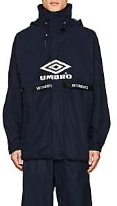 "Vetements Men's ""Umbro""-Print Hooded Track Jacket - Navy"