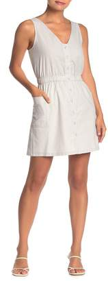 Naked Zebra Button Front Sleeveless Cutout Dress