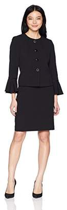 Tahari by Arthur S. Levine Women's Petite Jewel Neck Bell Sleeve 4 Snap Jacket Skirt Suit