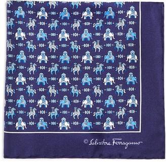 Salvatore Ferragamo Regal Elephant and Horse Pocket Square $140 thestylecure.com