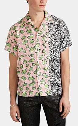 Amiri Men's Palm-Tree- & Leopard-Print Silk Twill Shirt - Pink