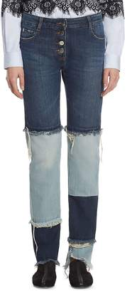 Each X Other Women's Patchwork Cotton Jeans - Two Tone, Size 26 (2-4)
