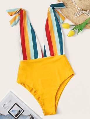 Shein Plus Striped Tie Shoulder One Piece Swimwear