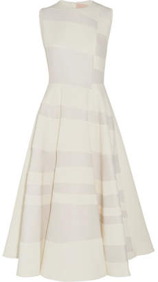 Roksanda - Tatum Paneled Cady And Hammered-crepe Midi Dress - Ivory $2,730 thestylecure.com