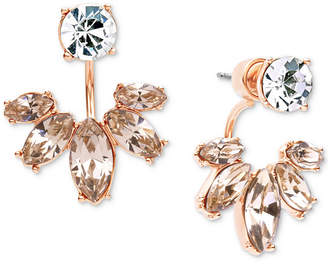Marchesa Gold-Tone Clear & Rose Crystal Jacket Earrings