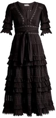 Zimmermann Corsair Deep V Neck Ruffled Cotton Dress - Womens - Black