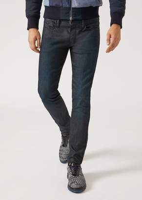 Emporio Armani J00 Slim Fit Jeans In Glossy Washed Denim