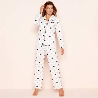 Lounge & Sleep - Cream Spot Print Cotton Pyjama Set