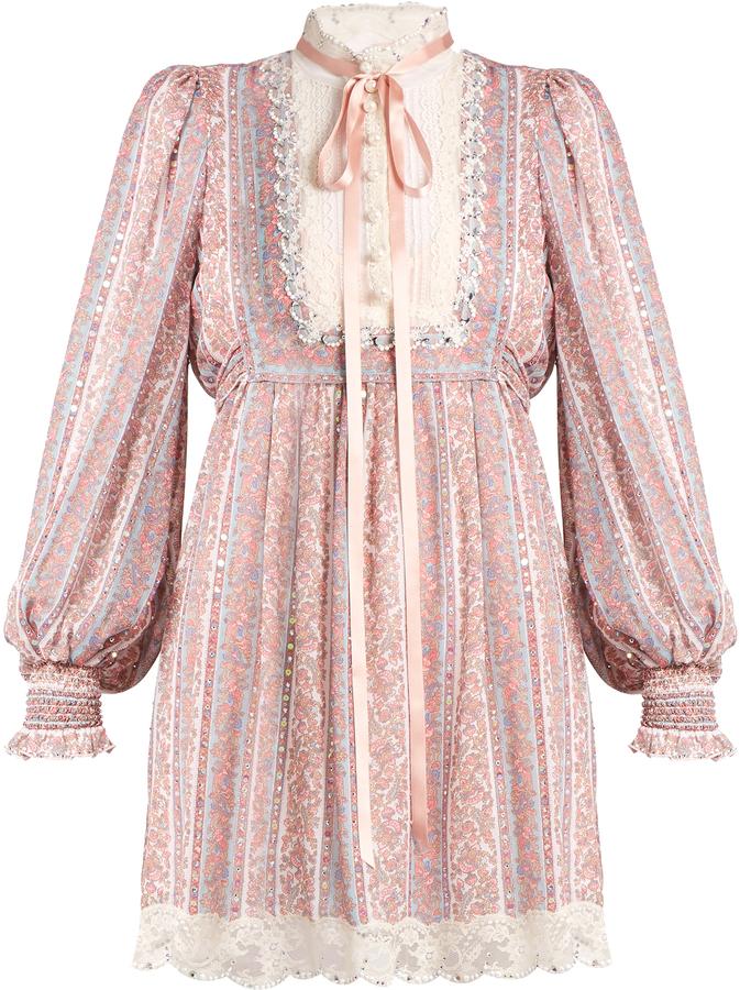 Marc JacobsMARC JACOBS Crystal-embellished striped paisley-print dress