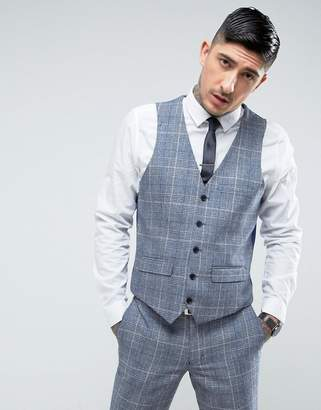 Harry Brown Slim Fit Tweed Checked Suit Vest