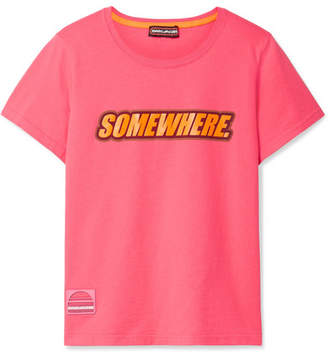 Marc Jacobs Somewhere Printed Cotton-jersey T-shirt - Bright pink