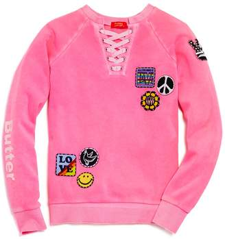 Butter Shoes Girls' Love Patches Sweatshirt
