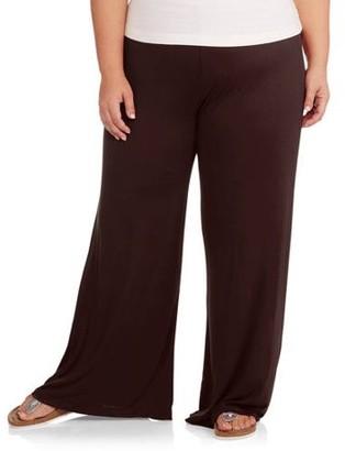 24/7 Comfort Apparel Women's Plus Wide-Leg Palazzo Pants