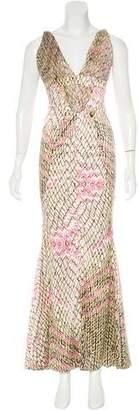 Just Cavalli Abstract Print Evening Dress