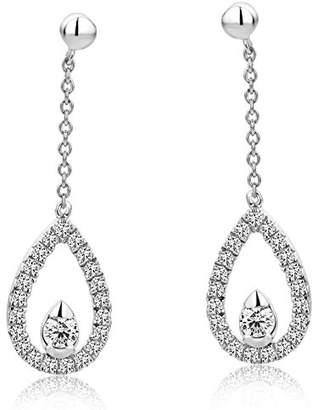 98363918b08 DIAMADA Women s 9 ct White Gold Round Diamond Drop Earrings
