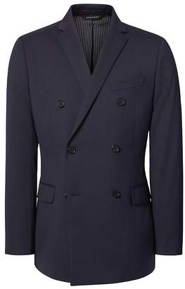 Banana Republic Slim Double Breasted Navy Wool Suit Jacket