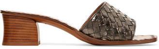 Bottega Veneta Metallic Intrecciato Leather Mules - Gunmetal