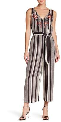 Crimson in Grace Floral Embroidered Striped Jumpsuit