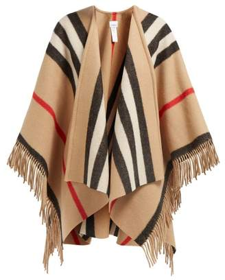Burberry House Stripe Fringe Trimmed Wool Poncho - Womens - Camel