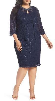 Alex Evenings Sequin Shift Dress & Jacket