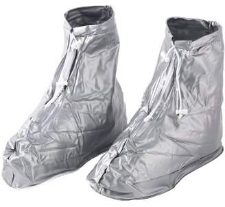 Unique Bargains Man PVC Water Resistant Drying Shoes Covers Overshoes Silver Tone Pair XXL