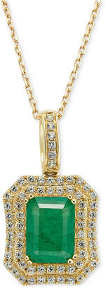 Macy's Emerald (1-1/2 ct. t.w.) and White Sapphire (1 ct. t.w.) Rectangular Pendant Necklace in 14k Gold