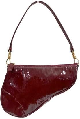 Christian Dior Vintage Saddle Burgundy Patent leather Handbag