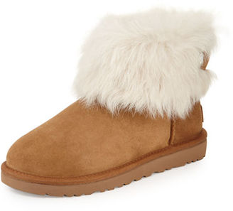 UGG Valentina Crystal-Button Shearling Fur Boot $210 thestylecure.com