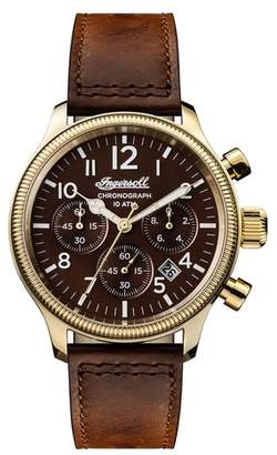 Ingersoll WATCHES Apsley Chronograph Leather Strap Watch, 45mm