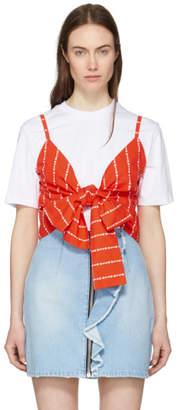 MSGM White and Red Logo Stripe Bow T-Shirt