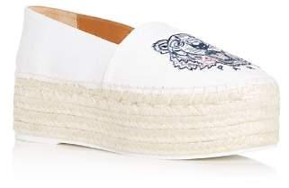 Kenzo Women's Tiger Embroidered Platform Espadrille Flats