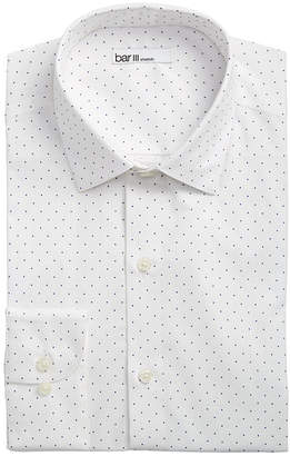 Bar III Men's Slim-Fit Stretch White/Navy Polka Dot Dress Shirt