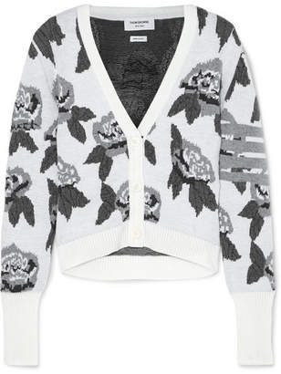 Thom Browne Wool-jacquard Cardigan - White